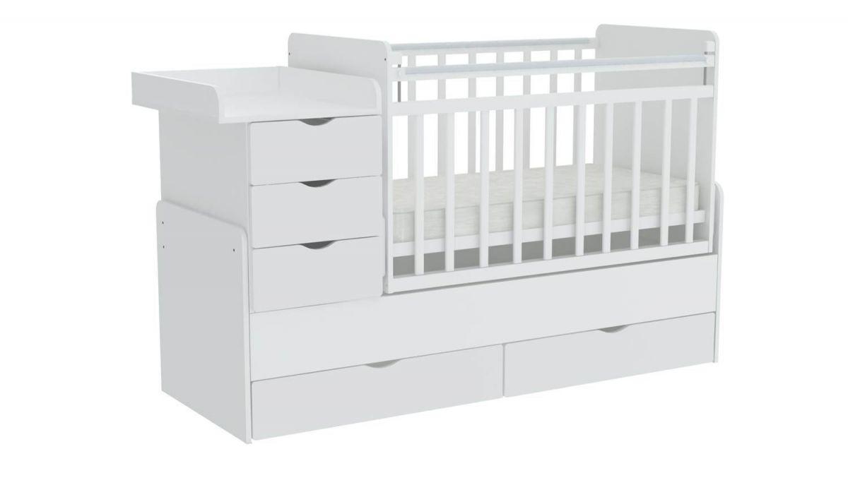 """Кроватка - трансформер Фея """"1150"""" (белый), маятник (поперечный), ящик - 2, комод, пеленальный стол"""