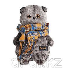 """Мягкая игрушка """"Кот Басик и шарф в клеточку"""" (22 см)"""