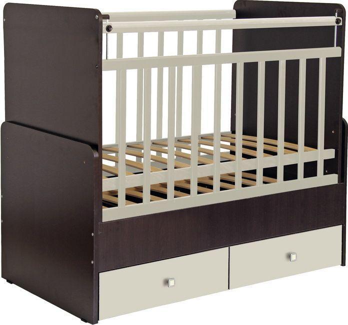 """Кроватка - трансформер Фея """"720"""", (венге-бежевый), состав - ЛДСП, маятник (поперечный), ящик под кроватью - 2"""