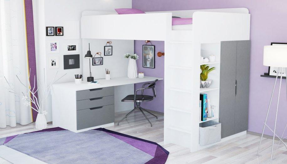 Кровать-чердак 5 в 1 Polini Simple с письменным столом и шкафом (белый-серый)