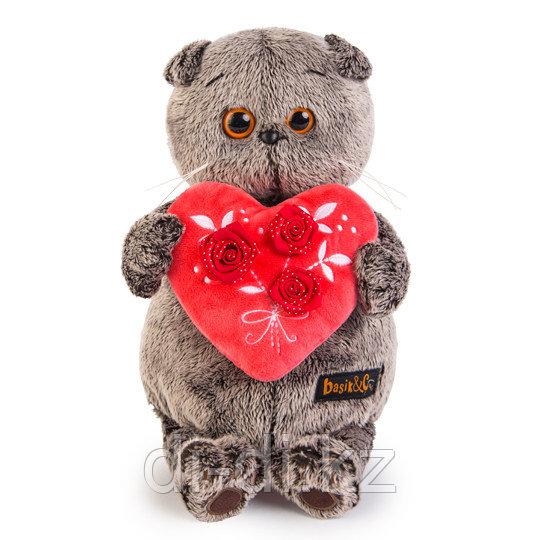 """Мягкая игрушка """"Кот Басик с красным сердечком"""" 22 см"""