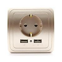 Электрическая розетка с USB 5 В золотистая, фото 1