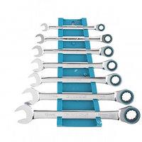 Набор ключей комбинированных с трещоткой, 8 - 19 мм, 7шт., CrV GROSS 14890 (002)