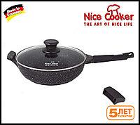 Сковорода-сотейник с каменным покрытием Nice cooker 24 (Черная)