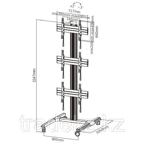 Мобильная стойка для видеопанелей Brateck LVS01-346FW - фото 2
