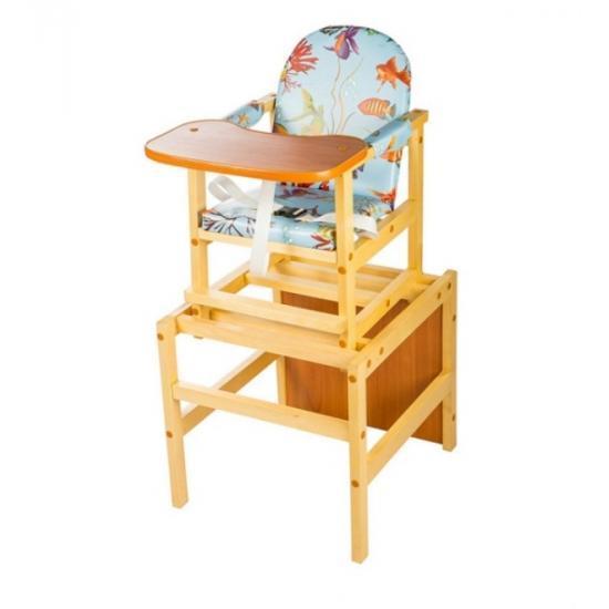"""Стол-стул для кормления Октябренок """"Рыбки"""", (дуб/бук), состав - массив березы"""
