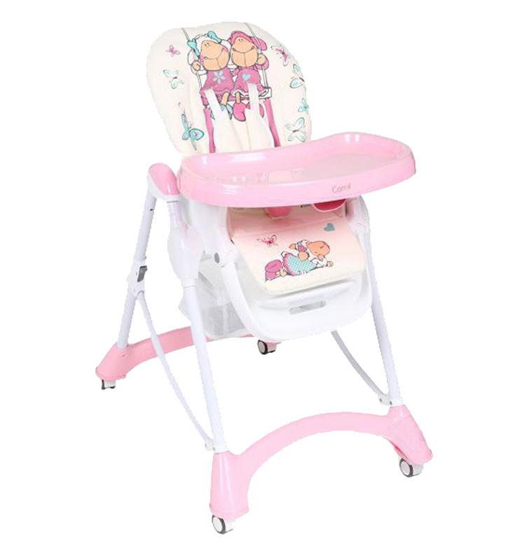 Стульчик для кормления Corol S1, (розовый+белый, овечки), 7 позиций высоты, съемный двойной столик