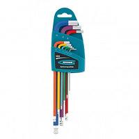 Набор ключей имбусовых HEX, 1,5 10 мм, S2, 9 шт., магнит, экстра-длинные с шаром, хром/краска 16400 (002)