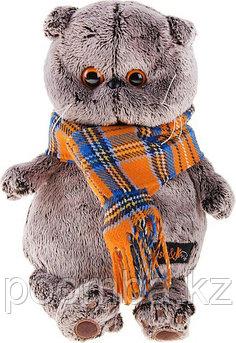 Мягкая игрушка Басик и шарф в клеточку