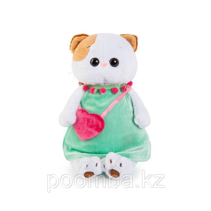 """Мягкая игрушка """"Кошечка Ли-Ли"""" в мятном платье и с розовой сумочкой"""