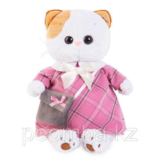 """Мягкая игрушка """"Кошечка Лили в розовом платье с серой сумочкой"""""""
