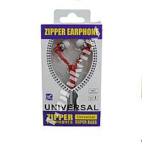 Наушники-молния Zipper Earphone красные