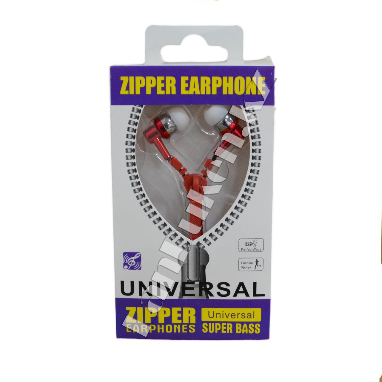 Наушники-молния Zipper Earphone красные - фото 1