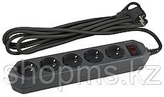 Сет.фильтр ЭРА USF-5es-1.5m-B 3x0.75мм2 зазем/выкл/черн