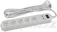 Сет.фильтр ЭРА USF-5es-1.5m-USB-W 3x0.75мм2 5гн.+2USB зазем/выкл/белый
