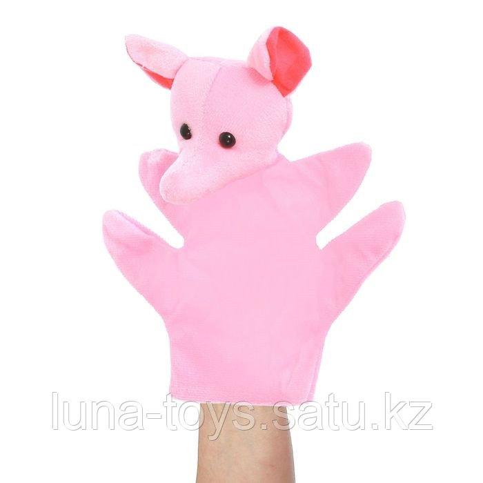 """Мягкая игрушка на руку """"Слоненок"""", розовый цвет, на 4 пальца"""