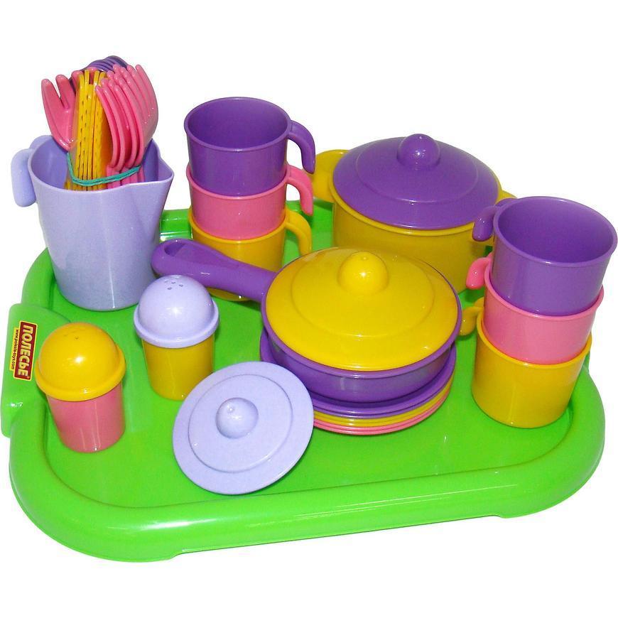 Набор Полесье детской посуды Настенька с подносом на 6 персон