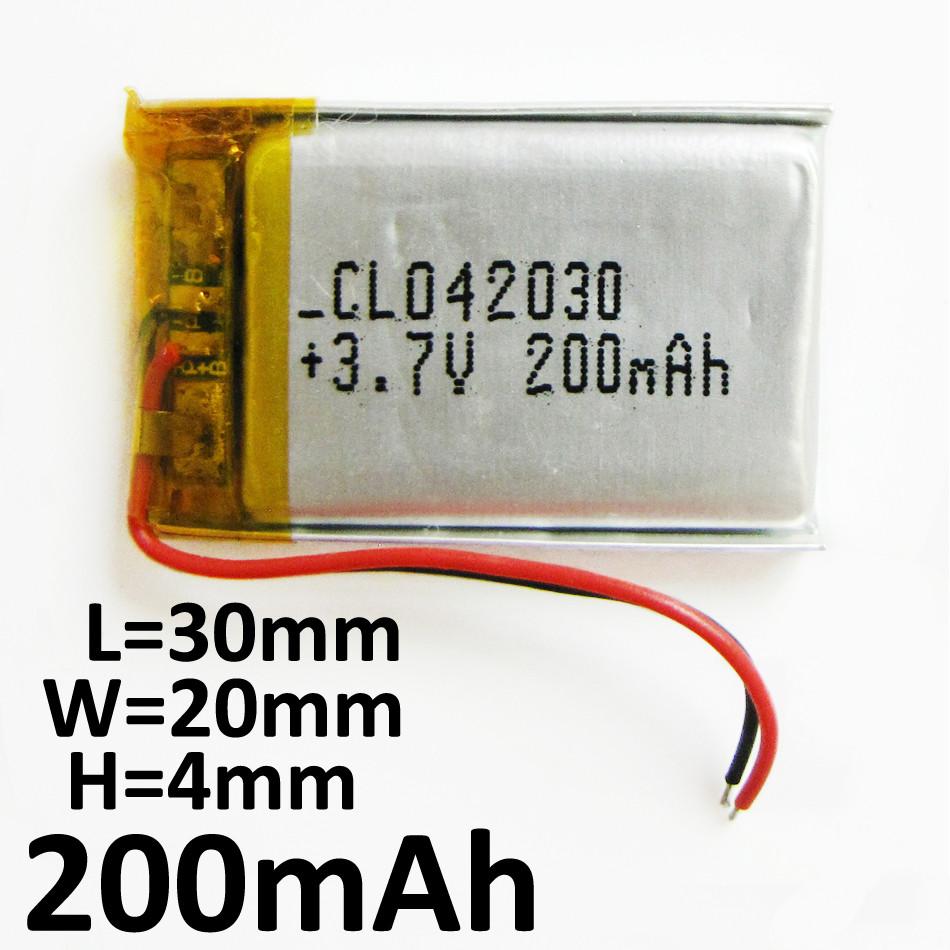 Аккумулятор для GPS, MP3, видеорегистратора, 200mAh, 402030,042030  4x20x30