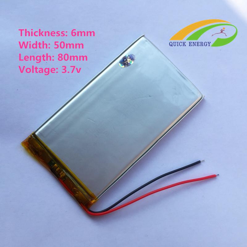 Аккумулятop 3,7v 3000mAh 605080 6x50x80mm  для планшетов,GPS и т.п