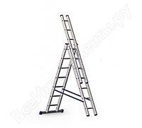 Алюминиевая трехсекционная лестница 3х7 ступеней Россия 97780