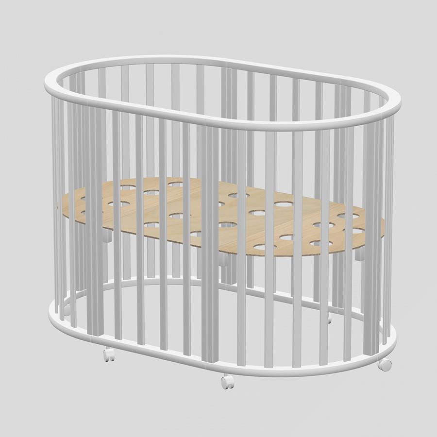 ВЕДРУС Кровать детская  ОЛИВИЯ NEW овальная 3в1 Место 1 Белая