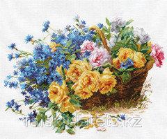 """Набор для вышивания крестиком """"Розы и васильки"""" 2-27"""
