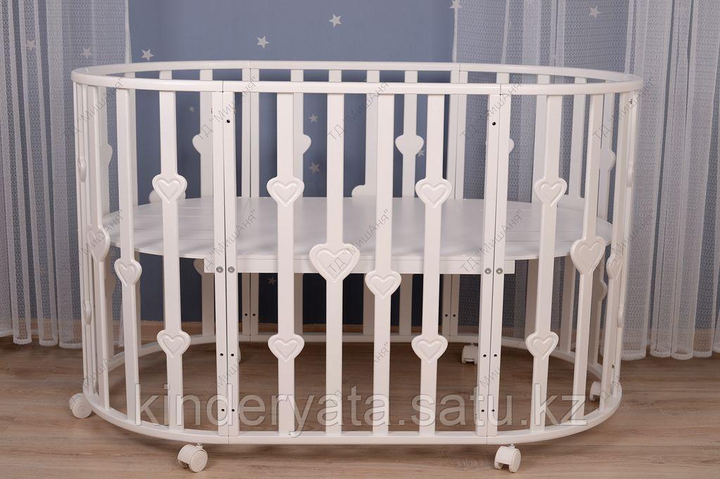 Круглая кроватка-трансформер 7 в 1 с декоративными вставками