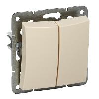 Двухклавишный выкл.СХ5, мех-м, бежевый, фото 2