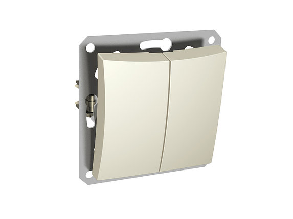 Двухклавишный выкл.СХ5,подсветка, мех-м, бежевый, фото 2