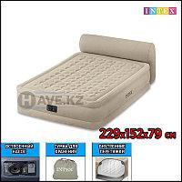 Двухспальная надувная кровать - матрас со спинкой и встроенным насосом Intex 64460 - 229х152х79 см, фото 1