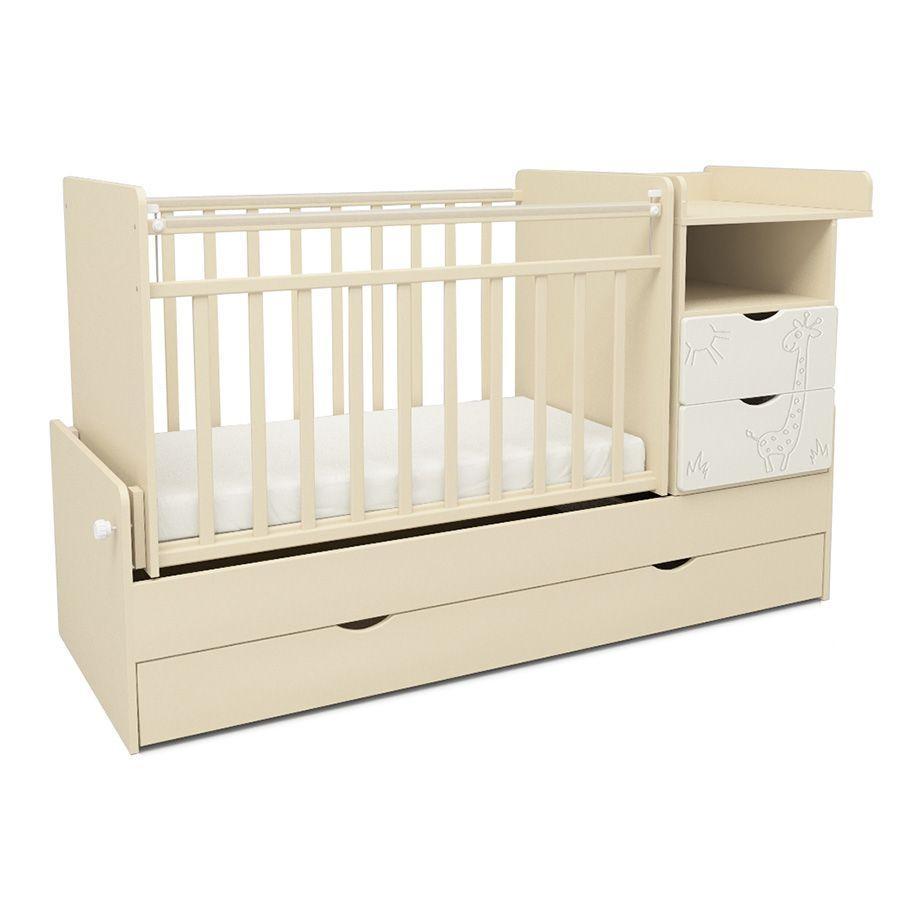 Детская кровать трансформер СКВ-5 (арт. 550039-1) цвет-Бежевый+Белый (жираф)
