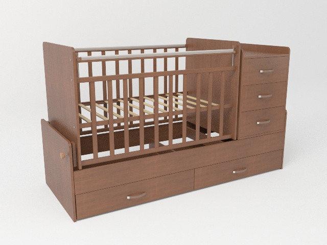 Детская кроватка трансформер СКВ-5 Орех