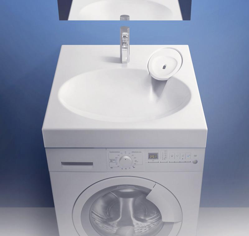 Раковина над стиральной машиной Мэйси V5 (белый лёд).Мрамор.