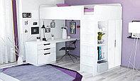 Детская кровать чердак Polini 5 в 1 со столом и шкафом белый, фото 1