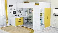 Кровать-чердак Polini Simple с письменным столом и шкафом, белый-солнечный, фото 1