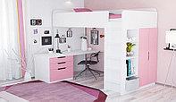 Кровать чердак Polini Simple с рабочей зоной белый/роза