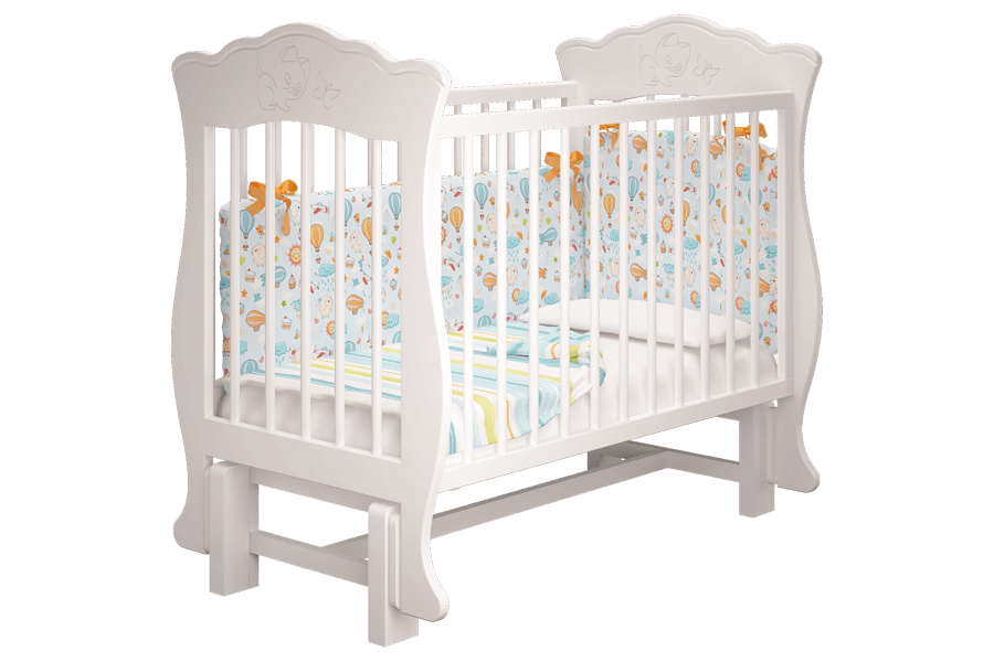 Кроватка Елена Белая без ящика