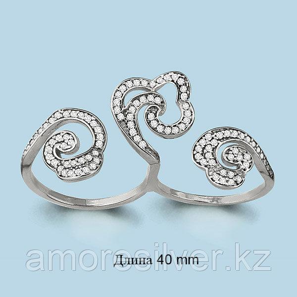 Кольцо Аквамарин серебро с родием, фианит, ажурное 64252А