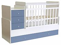 Детская кровать-трансформер Фея 1100 (белый-синий), фото 1