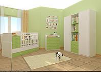 Детская кровать-трансформер Фея 1100 (белый-лайм), фото 1