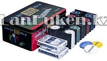 Набор для покера TEXAS HOLDEM Casino style 200 фишек с номиналом в кейсе