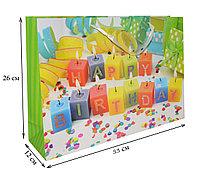 Подарочный пакет Happy Birthday свечки 33x26x12 (средний)
