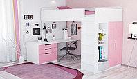 Кровать-чердак Polini Simple с письменным столом и шкафом, белый-розовый, фото 1