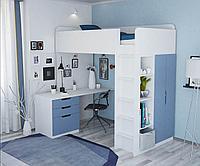 Кровать-чердак Polini Simple с письменным столом и шкафом, белый-голубой, фото 1