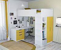 Кровать-чердак Polini Simple с письменным столом и шкафом, белый-желтый, фото 1