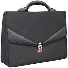 """Портфель OfficeSpace """"Turin"""" ткань, черный, 2 отделения, метал. замок"""
