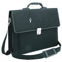 """Портфель OfficeSpace """"Hannover"""" ткань, черный, 3 отделения, метал. замок, с ремнем"""