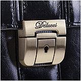 """Портфель Delucci """"Гиперион"""" кожа, черный, 2 отделения, метал. замок, с ремнем, фото 2"""