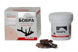 «Секрет бобра» с пантами алтайского марала для восстановления организма (30 капсул по 0,5 г.)