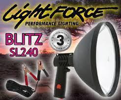 Фонарь-прожектор LIGHTFORCE BLITZ-SL-240 (12V) 1.000.000cd (дальность: 1.000м-1 Lux), контакты: зажимы R34904
